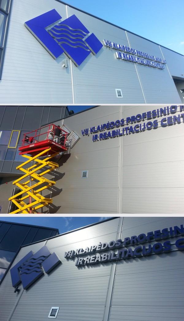 Iškabų gamyba: Klaipedos mokymo centro iškaba. Tūrinės raides su LED (iš metalo)