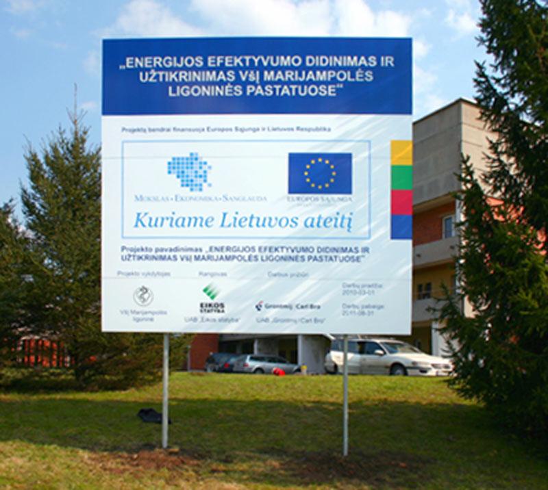 ES viešinimo skydų stendų gamyba