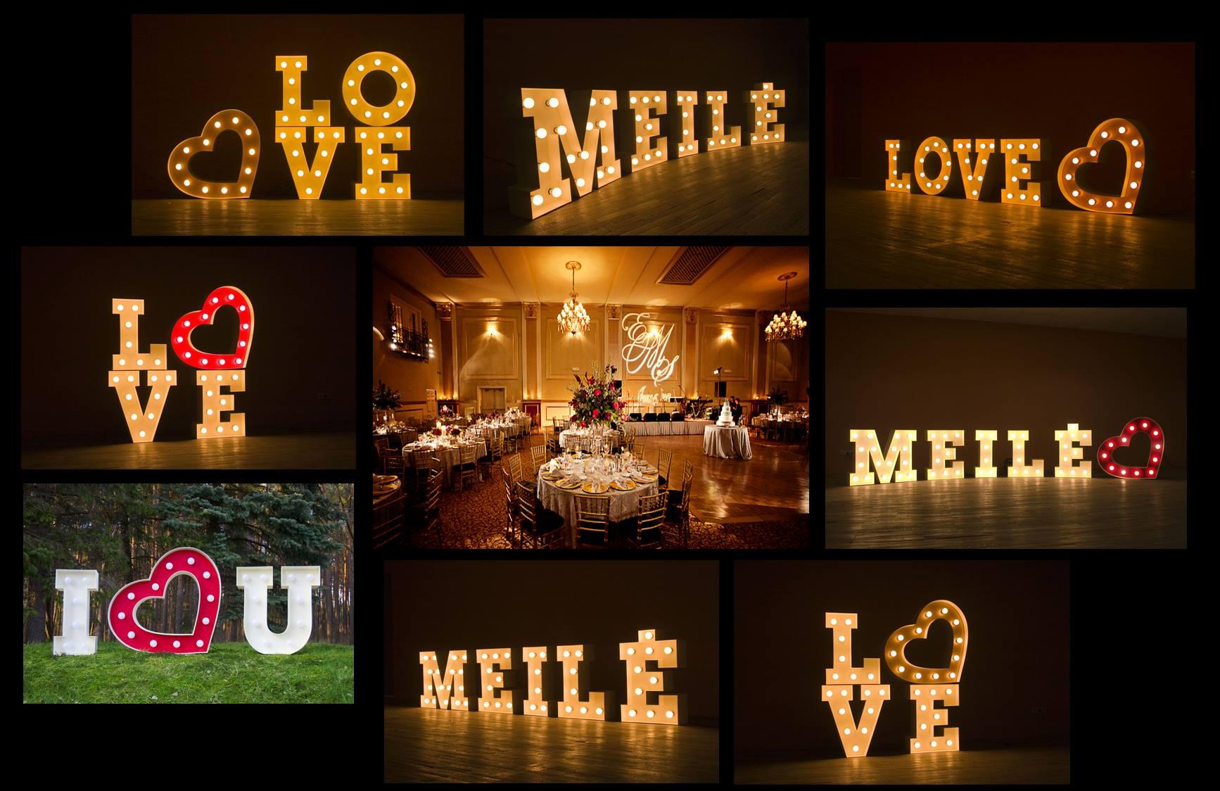Didelių šviečiančių raidžių nuoma Jūsų vestuvėms, šventei, pobūviui už priimtiną kainą