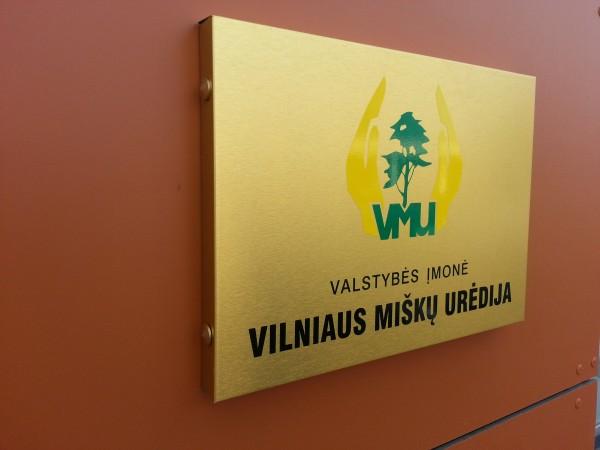 """Iškabos gamyba """"Vilniaus miškų urėdija"""""""
